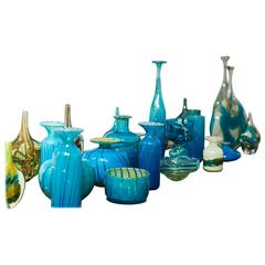 Vases in Strong Blue and Green Mediterranean Accent Colors