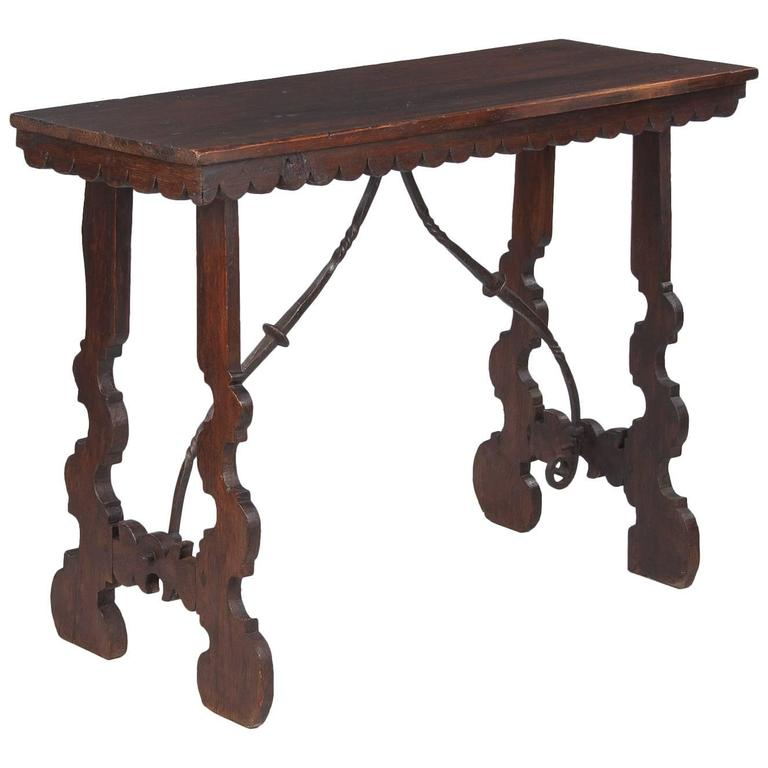 Spanish Pine Console Table with Iron Stretcher, Late 1800s For Sale