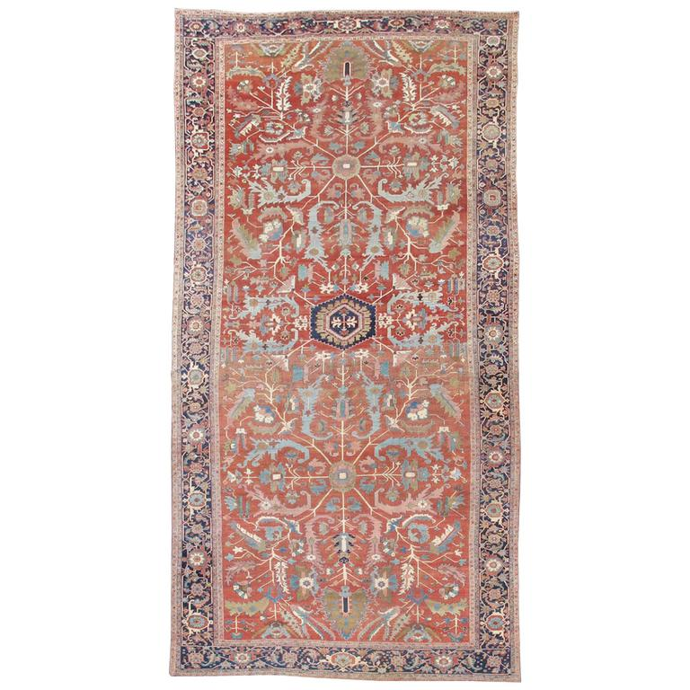Late 19th Century Red Serapi Heriz Carpet with Central Indigo Octagon For Sale