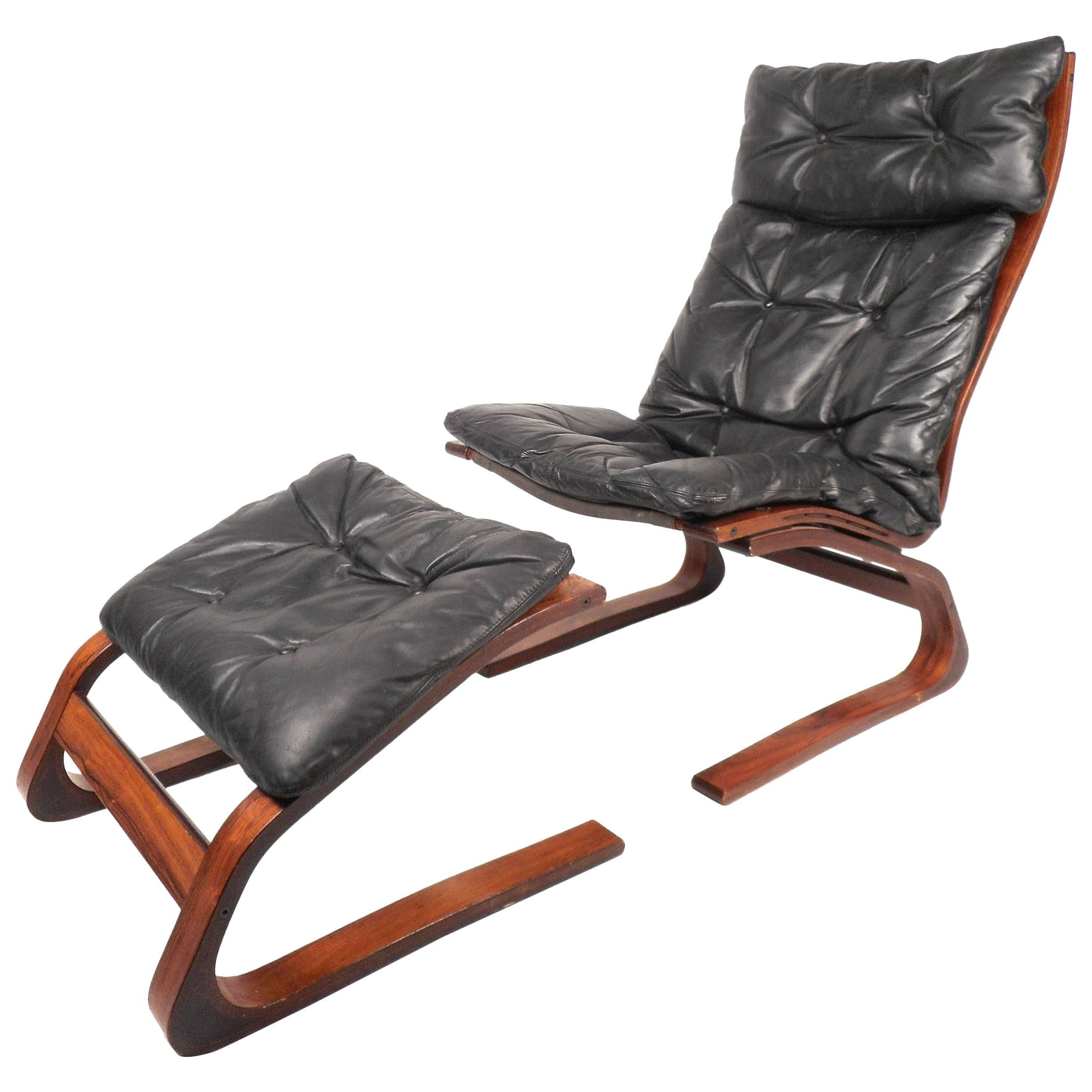 Ingmar Relling Leather Lounge Chair with Ottoman
