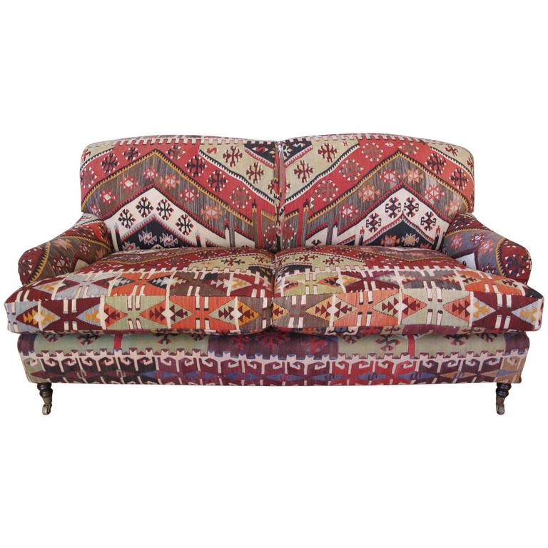 George Smith Sofa With Kilim For Sale
