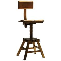 1940s Industrial Adjustable Sculptors Stool