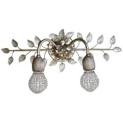 Banci Firenze Double Arm Glass Leaf Wall Sconce