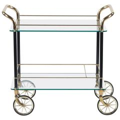 Vintage Spanish Brass and Glass Bar Cart, 1980s