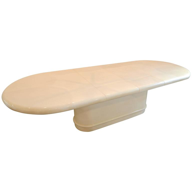 Cream Extendable Dining Table in Goatskin Style Lacquer:  Karl Springer 1980's