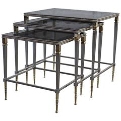 Brass and Stainless Nesting Tables with Mirror Edged Glass Tops