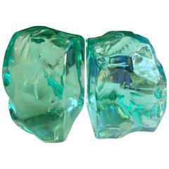 Max Ingrand Glass Bookends for Fontana Arte, Signed