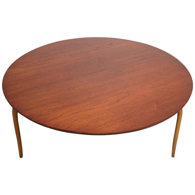 Swedish Teak And Birch Round U0027Annikau0027 Coffee Table By Bruno Mathsson 1