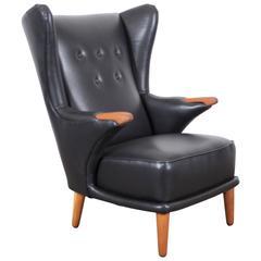 Svend Skipper Black Leather Lounge Chair