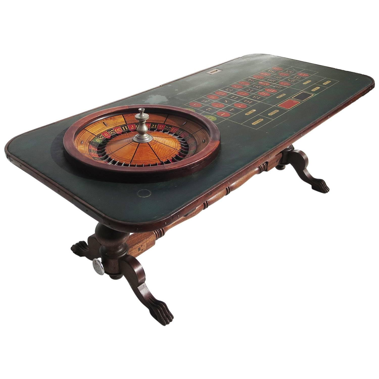 Full Size Victorian Roulette Table By F Grote And Co With Oil Cloth Playfield At 1stdibs