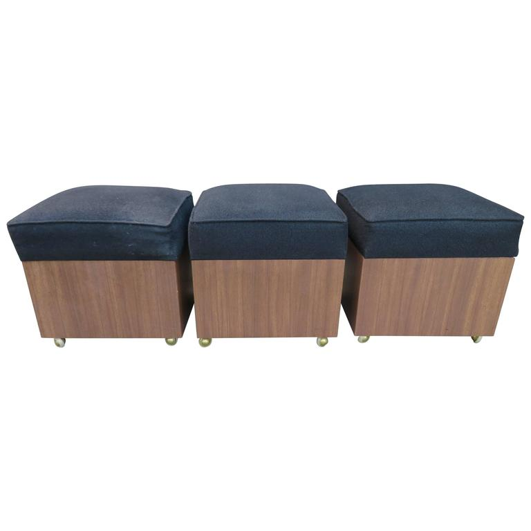 Lovely Set Of Three Rolling Storage Cube Stools, Mid Century Modern For Sale