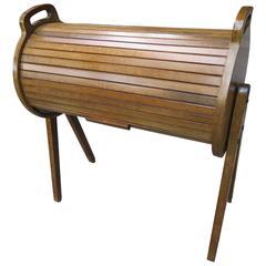 Wonderful Danish Modern Teak Cylindrical Roll Top Sewing Caddy Basket