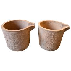 Pair of 20th Century Industrial Foundry Pots
