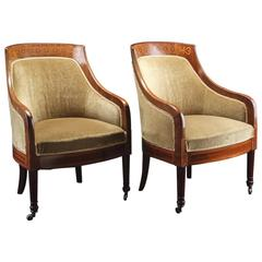 Pair of Swedish Mahogany Art Deco Bergere Chairs with Marquetry Inlay