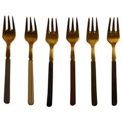 "Six Piece A. Michelsen, Copenhagen Sterling Silver Cake Forks ""Harlequin"""