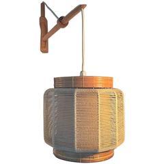 Wall Lamp in Oak, Twine and Wicker Designed by Kaare Klint