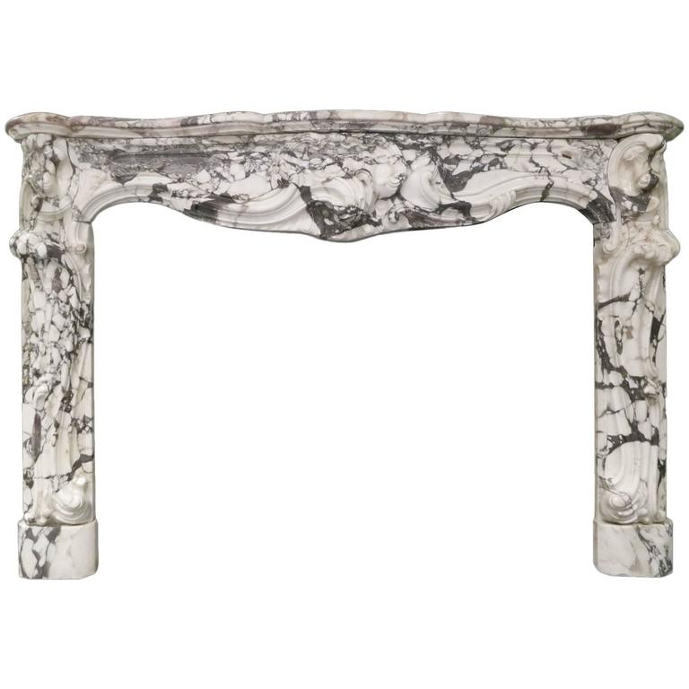 antique marble fireplace mantels. Large Antique French Rococo Breche Violette Marble Fireplace Mantel 1