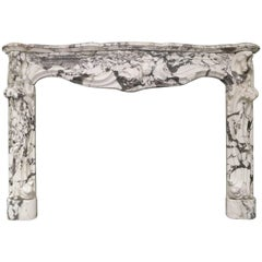 Large Antique French Rococo Breche Violette Marble Fireplace Mantel