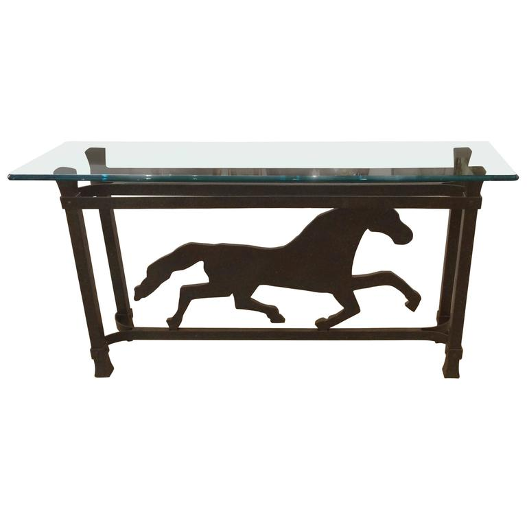 Unusual Iron Striding Horse Console Table For Sale
