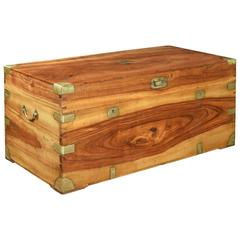 Large Chinese Export Brass-Bound Camphorwood Trunk