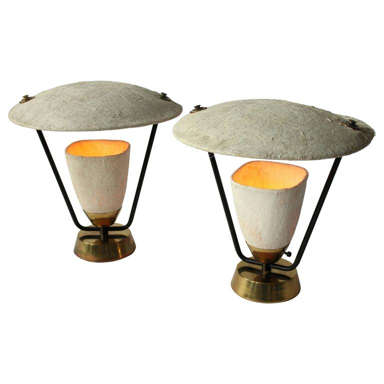 Pair of Raw Fiberglass Table Lamp in the Style of Mitchell Bobrick, 1950s, USA