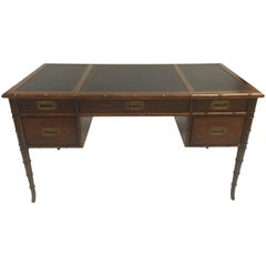 Mahogany Faux Bamboo Writing Table with Hand Tooled Back Leather Top