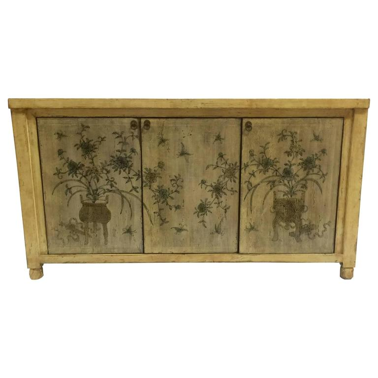Asian Style Credenza with Floral Motif Hand-Painted Door Panels 1 - Asian Style Credenza With Floral Motif Hand-Painted Door Panels