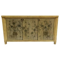 Asian Style Credenza with Floral Motif Hand-Painted Door Panels