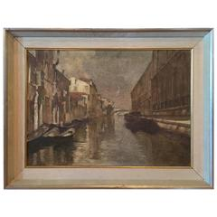 Italian Oil on Canvas Painting of Venetian Canal