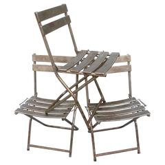 Set of Eight French Folding Steel Chairs