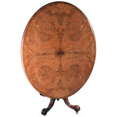 English Victorian Burled Elm Tilt-Top Breakfast Table, circa 1850