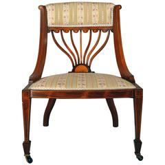 19th Century Upholstered Continental Tablet Back Chair