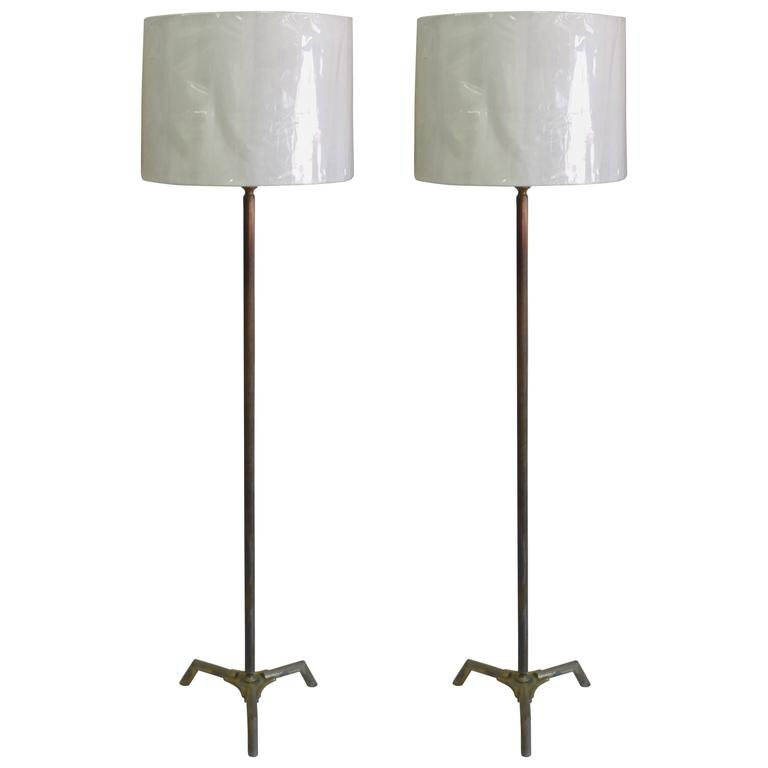 Pair French Mid-Century Bronze Fluted Faux Bamboo Floor Lamps by Maison Baguès