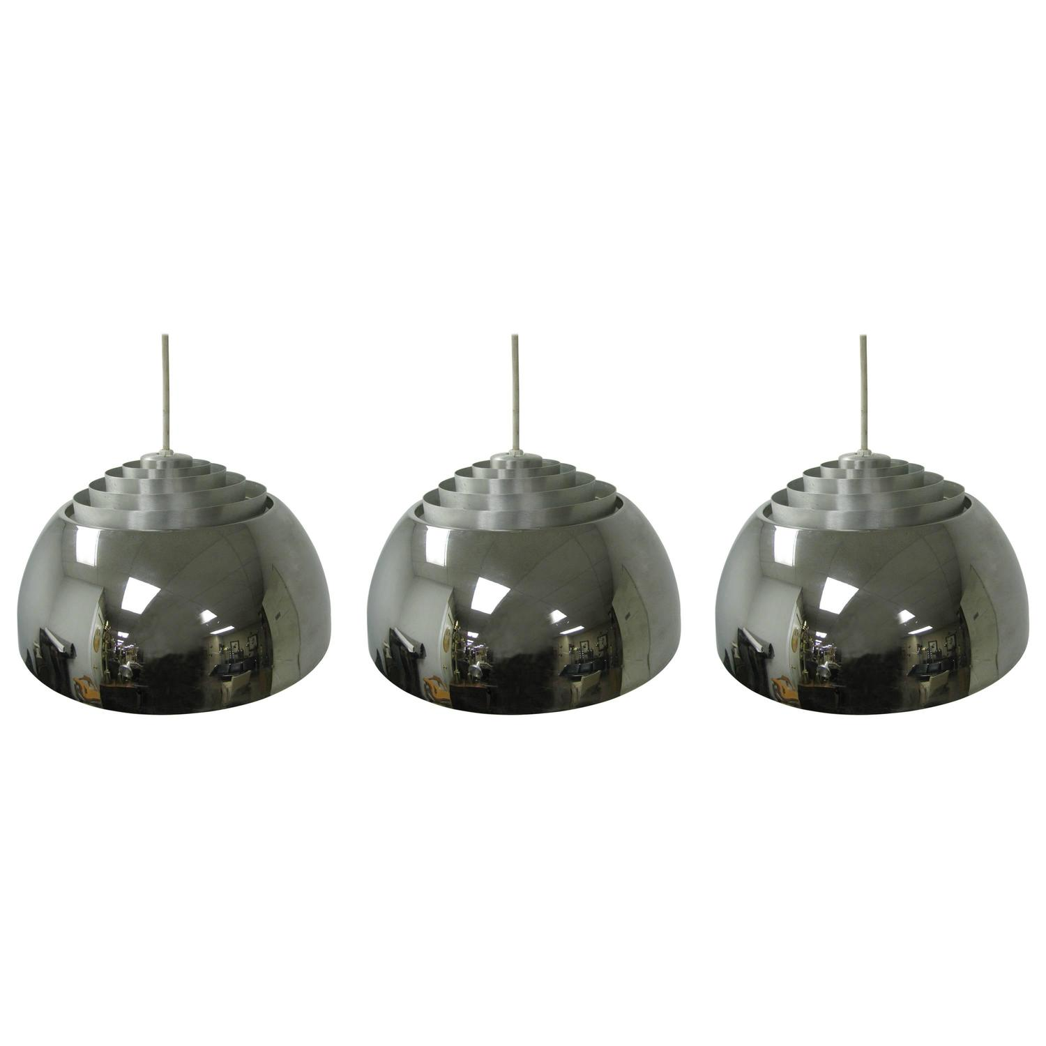 Lightolier Ring Chandelier At 1stdibs: Mid-Century Modern Nickel Chrome Louvered Pendant Lamps By