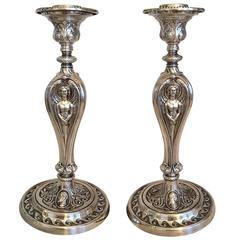 Late 19th Century English Silver Plate Candelsticks