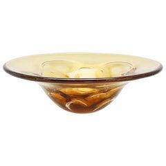 """Art Glass Bowl, Amber Colored, """"Sputnik,"""" Lars Hellsten, Orrefors"""