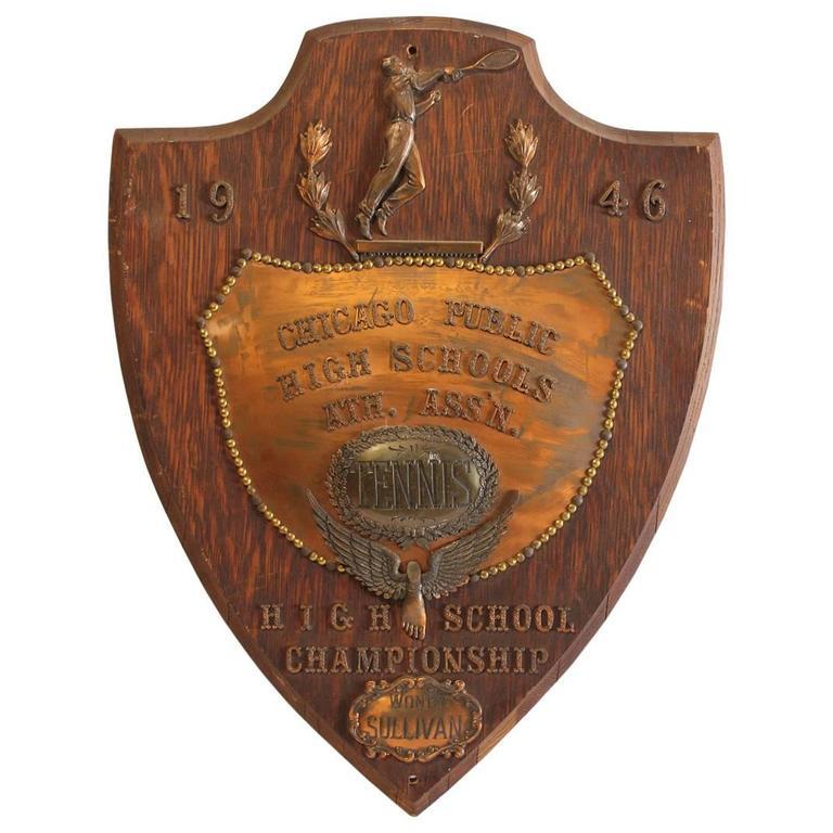 1946s Chicago Public High School Tennis Copper Trophy