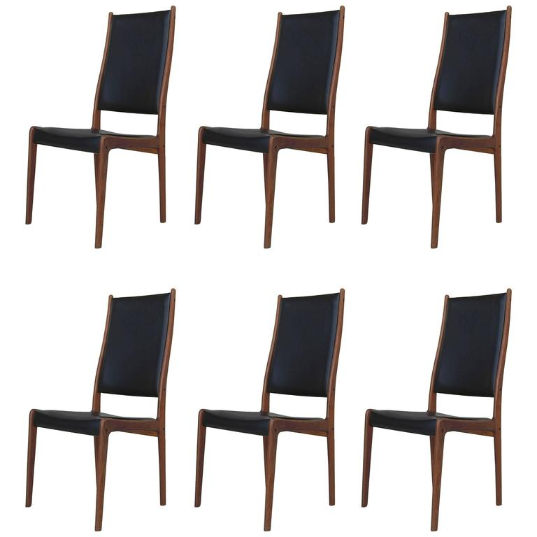 Set of Six High Back Dining Chairs by Johannes Andersen in Teak