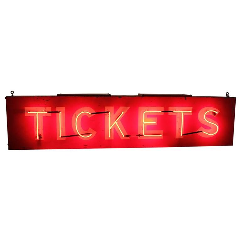 """1950s American Neon Sign """"TICKETS"""""""