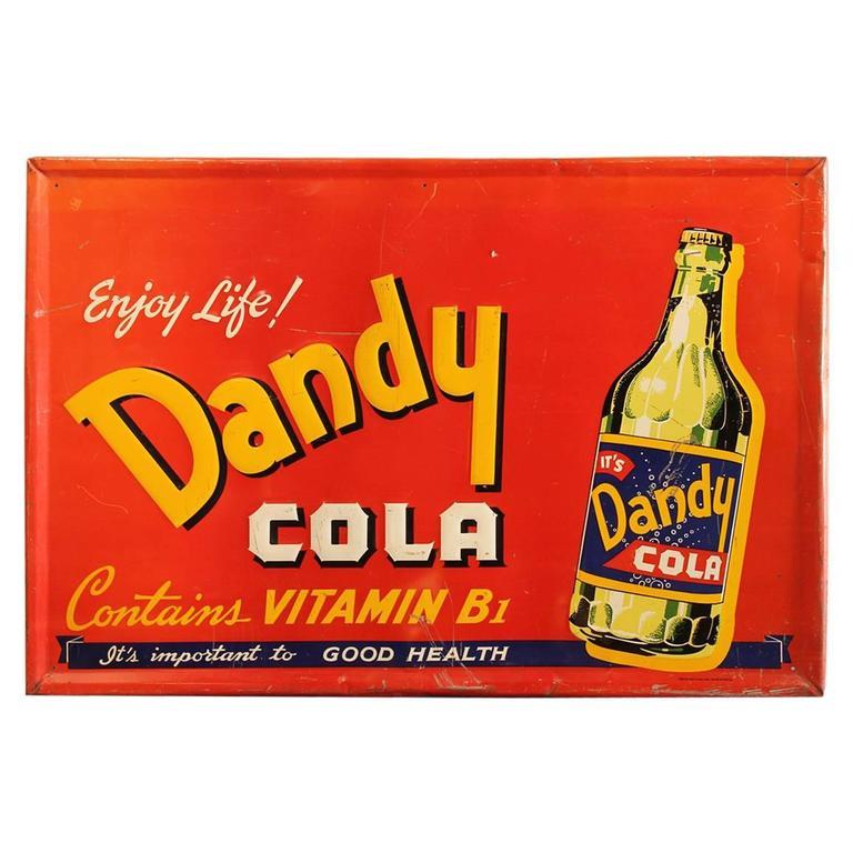 "1940s American Advertising Sign ""Dandy Cola"""