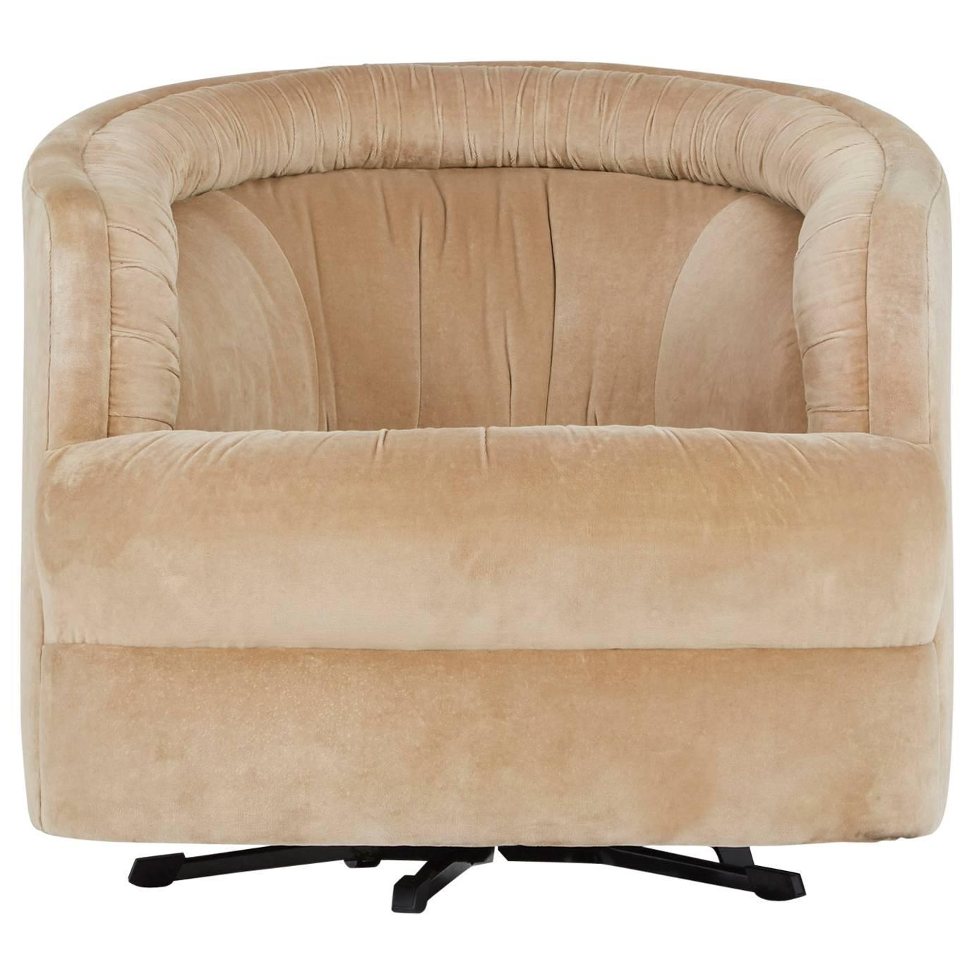 Milo Baughman Style Velvet Swivel Barrel Chair For Sale At