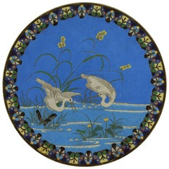 Japanese Meiji Period Cloisonne Charger Plate, circa 1868-1912
