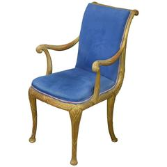 Neoclassical Giltwood and Velvet Armchair, circa 1950