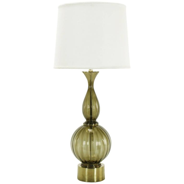 Fluted and Smoked Murano Glass Sinuous Table Lamp For Sale
