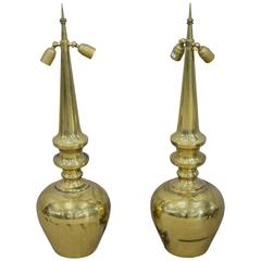 Pair of 1950 Very High Brass Table Lamps