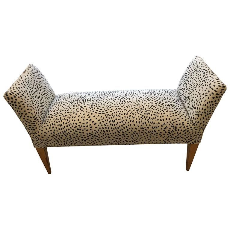 Stylish Bench In Black And Cream Faux Animal Print For Sale At 1stdibs