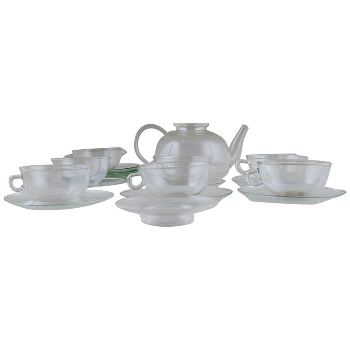 wilhelm wagenfeld jena tea set of clear glass for sale. Black Bedroom Furniture Sets. Home Design Ideas