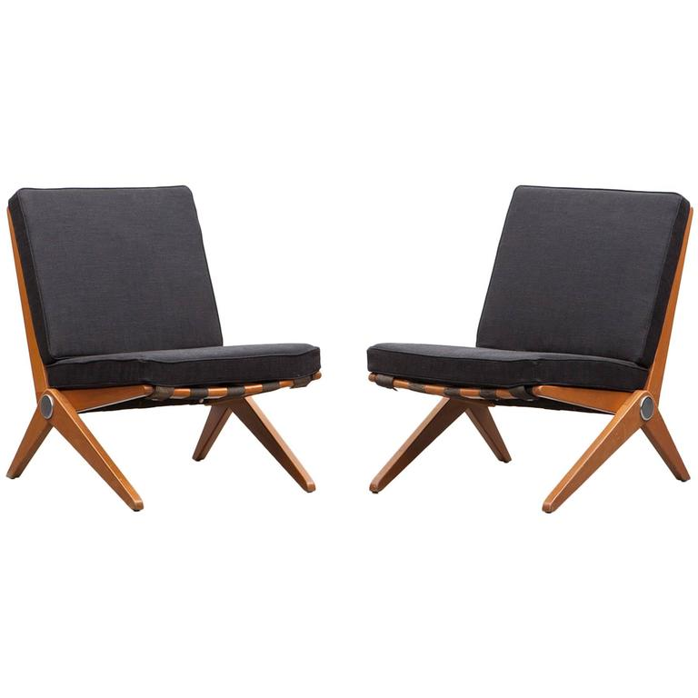 Pair of Pierre Jeanneret Easy Chair 'b'  * New Upholstery *  For Sale