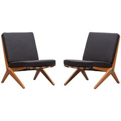 Pair of Pierre Jeanneret Easy Chair 'B' 'New Upholstery'
