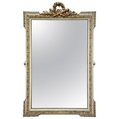 Large Late 19th Century French Gilt and Painted Mirror in the Louis XVI Style